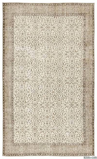 Beige Over-dyed Turkish Vintage Rug - 5'8'' x 9'7'' (68 in. x 115 in.)