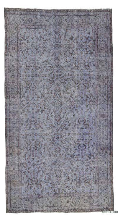 Light Blue Over-dyed Turkish Vintage Rug - 5'3'' x 9'10'' (63 in. x 118 in.)
