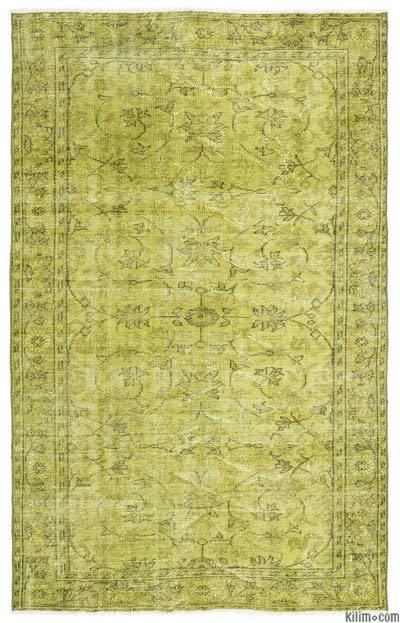 Green Over-dyed Turkish Vintage Rug - 5'4'' x 8'8'' (64 in. x 104 in.)