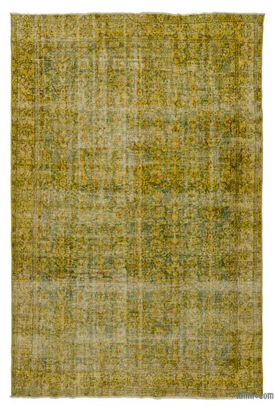 Yellow Over-dyed Turkish Vintage Rug - 6'7'' x 9'10'' (79 in. x 118 in.)
