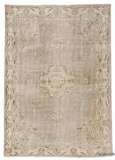 Beige Over-dyed Turkish Vintage Rug - 6'5'' x 8'10'' (77 in. x 106 in.)