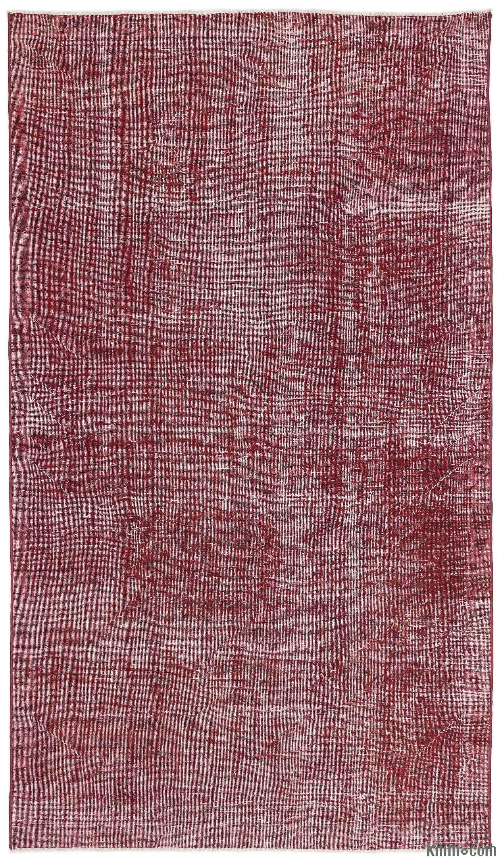 Red Over-dyed Turkish Vintage Rug