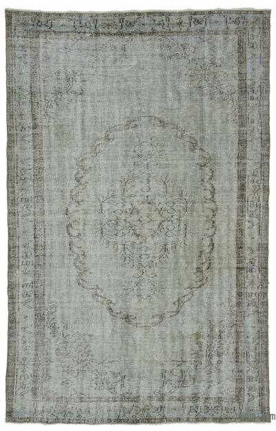 Light Blue Over-dyed Turkish Vintage Rug - 5'3'' x 8'5'' (63 in. x 101 in.)