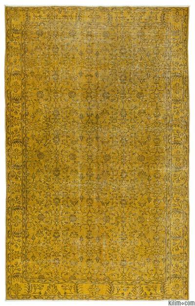 Yellow Over-dyed Turkish Vintage Rug - 5'9'' x 9'3'' (69 in. x 111 in.)