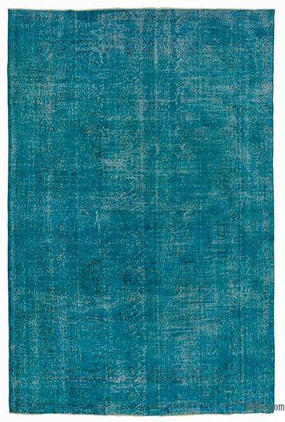 Turquoise Over-dyed Turkish Vintage Rug - 7'1'' x 10'7'' (85 in. x 127 in.)