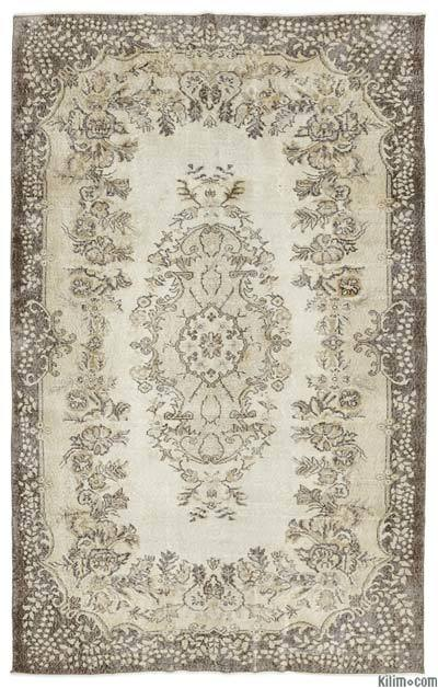 Beige Over-dyed Turkish Vintage Rug - 5'10'' x 9'3'' (70 in. x 111 in.)