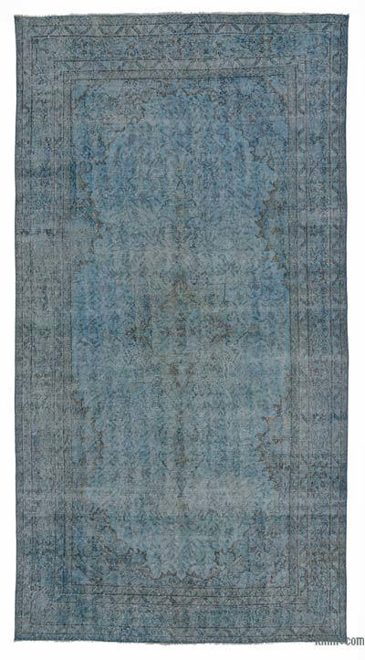 Blue Over-dyed Turkish Vintage Rug - 5'5'' x 10'1'' (65 in. x 121 in.)