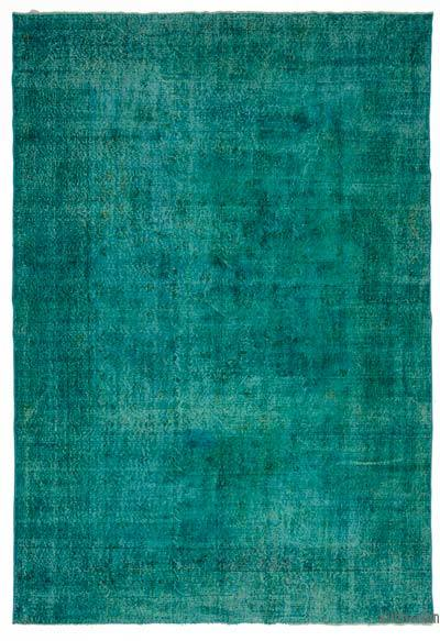 Turquoise Over-dyed Turkish Vintage Rug - 6'11'' x 10'3'' (83 in. x 123 in.)