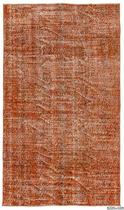 Orange Over-dyed Turkish Vintage Rug - 4'8'' x 7'11'' (56 in. x 95 in.)