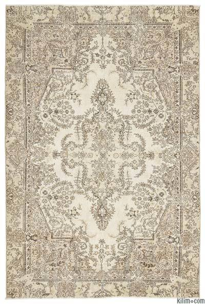 Beige Over-dyed Turkish Vintage Rug - 6'3'' x 9'7'' (75 in. x 115 in.)