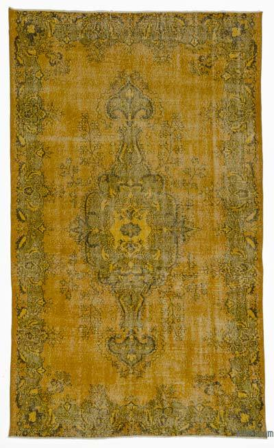 Yellow Over-dyed Turkish Vintage Rug - 5'10'' x 9'11'' (70 in. x 119 in.)