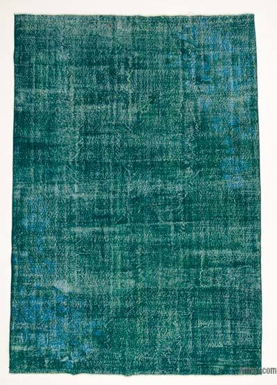 Turquoise Over-dyed Turkish Vintage Rug
