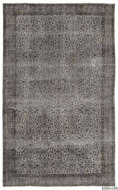 Grey Over-dyed Turkish Vintage Rug - 6'1'' x 9'10'' (73 in. x 118 in.)