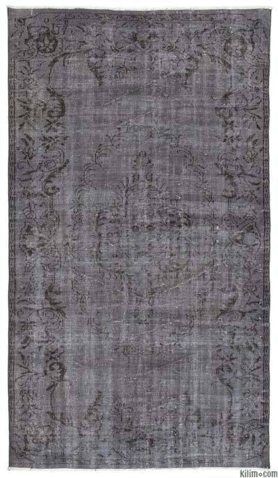 Grey Over-dyed Turkish Vintage Rug - 5'4'' x 9'4'' (64 in. x 112 in.)