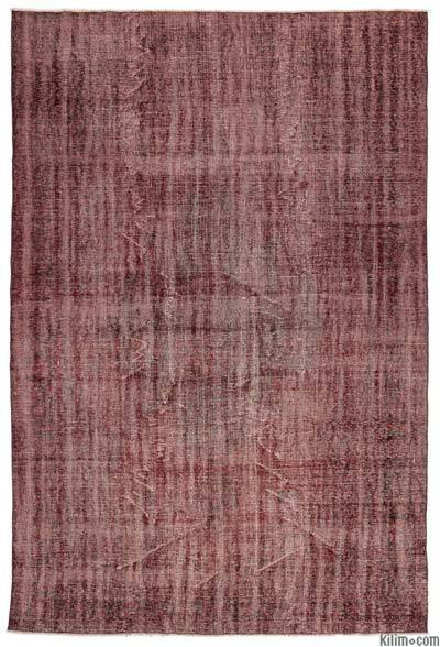 Red Over-dyed Turkish Vintage Rug - 7'3'' x 10'11'' (87 in. x 131 in.)