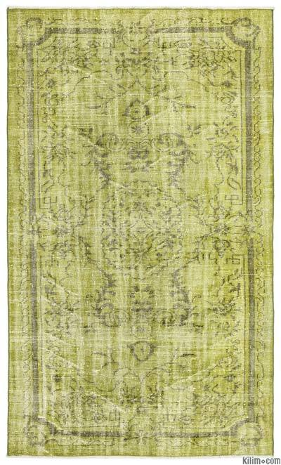Green Over-dyed Turkish Vintage Rug - 5'2'' x 8'7'' (62 in. x 103 in.)