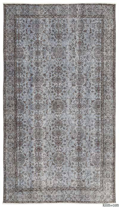 Light Blue Over-dyed Turkish Vintage Rug - 4'9'' x 8'8'' (57 in. x 104 in.)