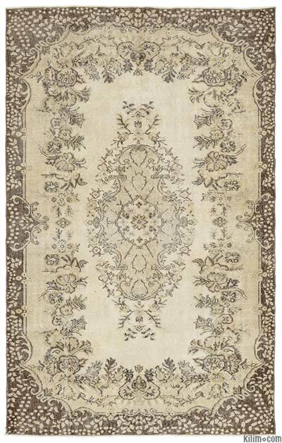 Beige Over-dyed Turkish Vintage Rug - 5'10'' x 9'4'' (70 in. x 112 in.)