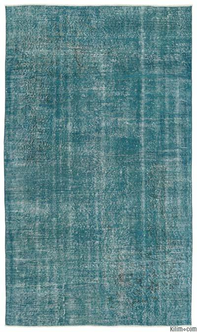 Turquoise Over-dyed Turkish Vintage Rug - 5'1'' x 8'9'' (61 in. x 105 in.)