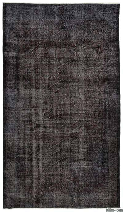 Black Over-dyed Turkish Vintage Rug - 5'5'' x 9'6'' (65 in. x 114 in.)