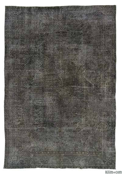 Grey Over-dyed Turkish Vintage Rug - 6'7'' x 9'8'' (79 in. x 116 in.)