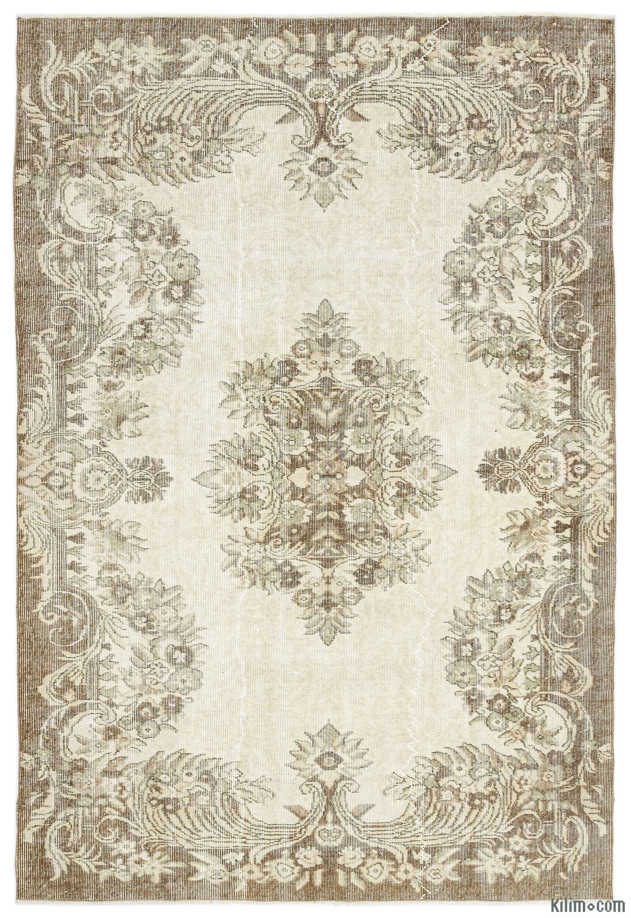 K0014576 Beige Over Dyed Turkish Vintage Rug 5 11 X 8
