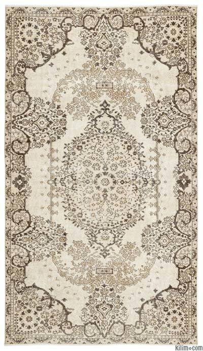 Beige Over-dyed Turkish Vintage Rug - 5'7'' x 9'9'' (67 in. x 117 in.)