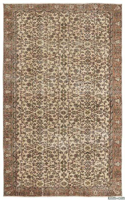 Turkish Vintage Area Rug - 5'7'' x 9' (67 in. x 108 in.)
