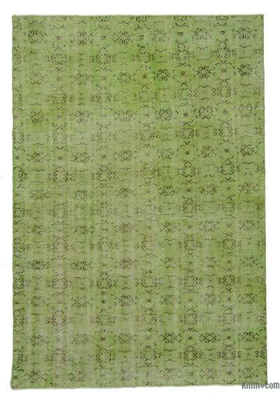 Green Over-dyed Turkish Vintage Rug - 5'7'' x 8'7'' (67 in. x 103 in.)