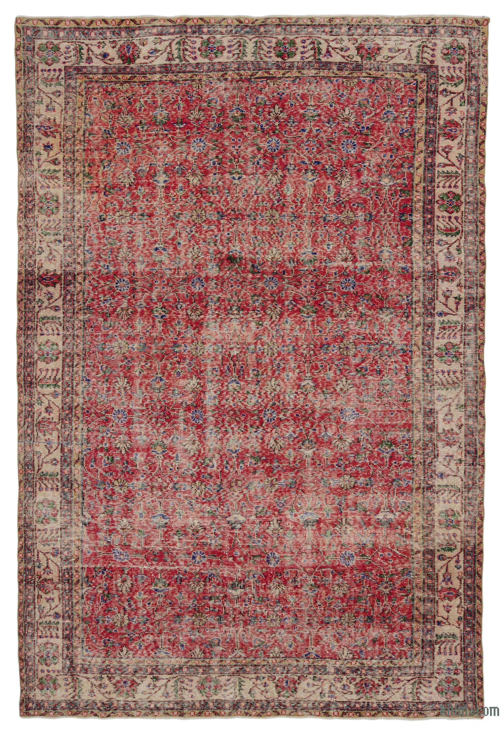 K0014987 Turkish Vintage Rug 6 9 X 10 3 81 In X