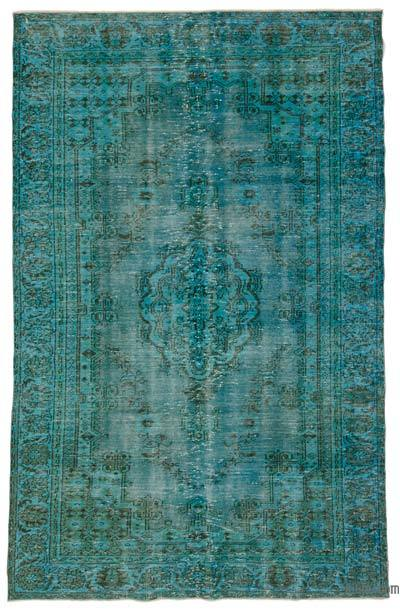 Turquoise Over-dyed Turkish Vintage Rug - 6' x 9'2'' (72 in. x 110 in.)
