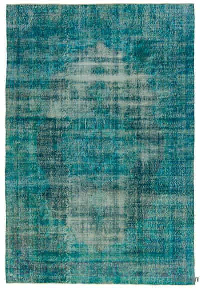 Turquoise Over-dyed Turkish Vintage Rug - 6'8'' x 9'10'' (80 in. x 118 in.)