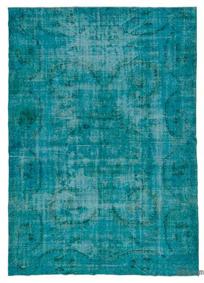 Turquoise Over-dyed Turkish Vintage Rug - 6'11'' x 10'2'' (83 in. x 122 in.)