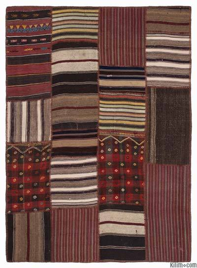 Red, Brown Kilim Patchwork Rug - 5'3'' x 7'7'' (63 in. x 91 in.)