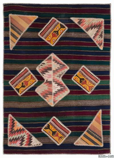 Multicolor Kilim Patchwork Rug - 5'3'' x 7'7'' (63 in. x 91 in.)