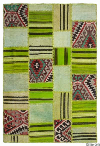 Green Kilim Patchwork Rug - 5'3'' x 7'7'' (63 in. x 91 in.)