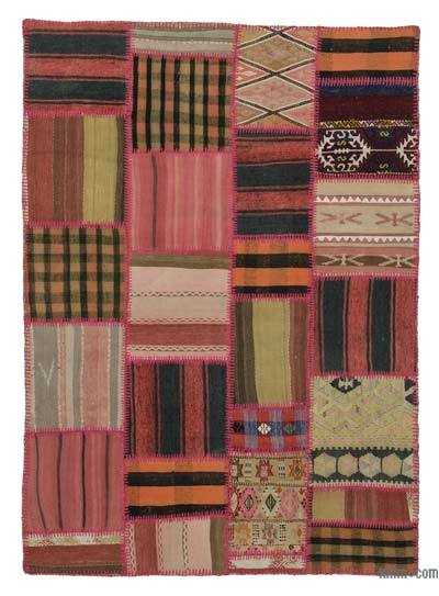 Red Kilim Patchwork Rug - 5'3'' x 7'7'' (63 in. x 91 in.)