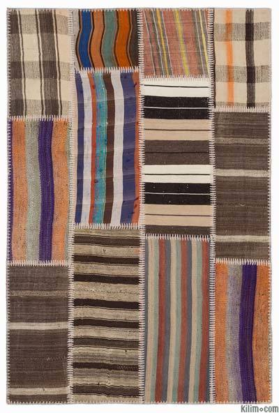 Multicolor Kilim Patchwork Rug - 3'11'' x 5'11'' (47 in. x 71 in.)