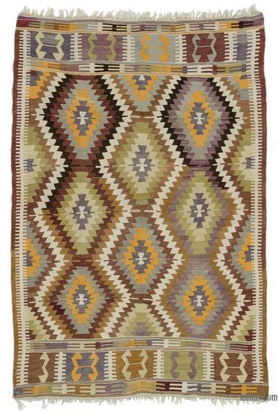 Multicolor Vintage Antalya Kilim Rug - 5'4'' x 8' (64 in. x 96 in.)