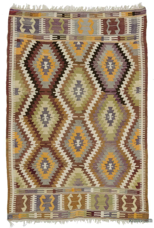 K0015249 Multicolor Vintage Antalya Kilim Rug 5 4 Quot X 8