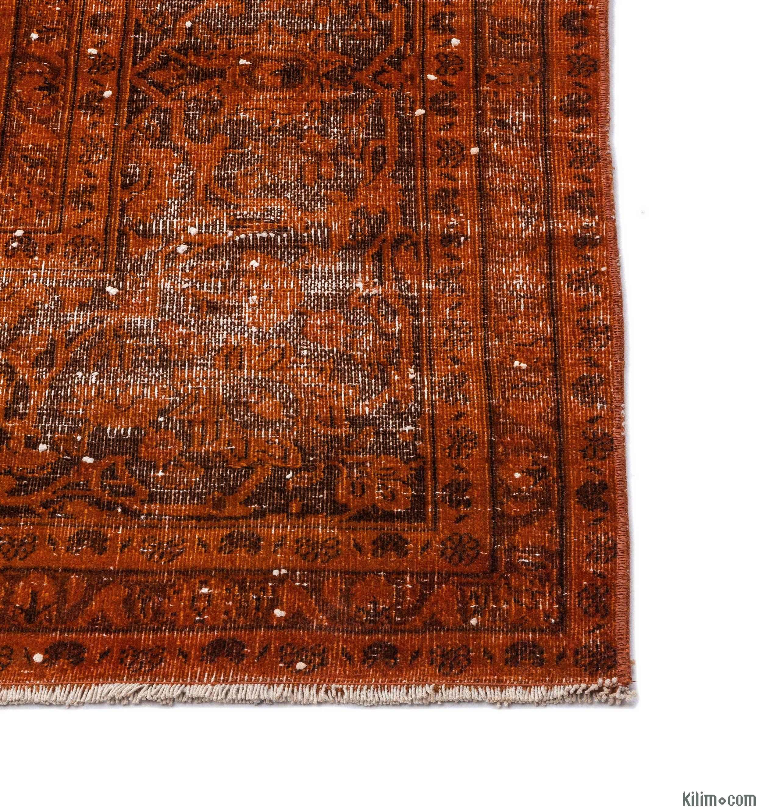 K0015274 Orange Over-dyed Vintage Rug