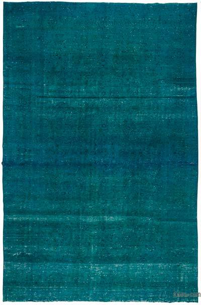 Turquoise Over-dyed Vintage Rug - 9'2'' x 14'4'' (110 in. x 172 in.)