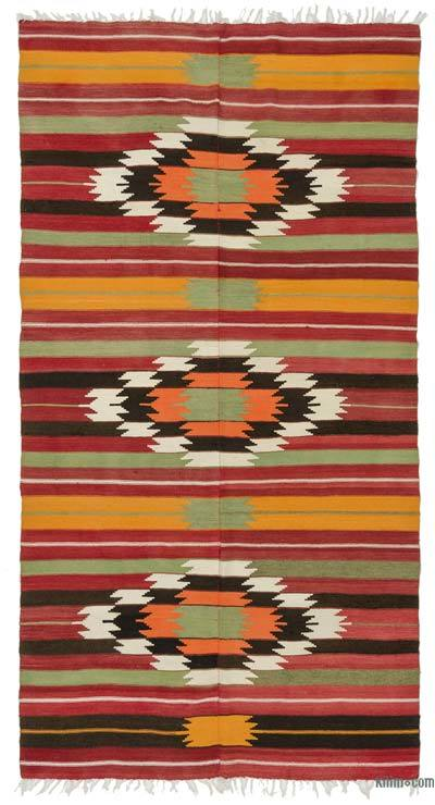 Vintage Turkish Kilim Rug - 5' x 9'6'' (60 in. x 114 in.)