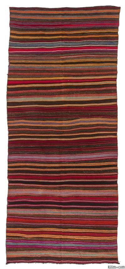 Multicolor Vintage Turkish Kilim Rug - 4'10'' x 11'2'' (58 in. x 134 in.)