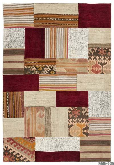 Multicolor Turkish Kilim Patchwork Rug - 4' x 5'11'' (48 in. x 71 in.)