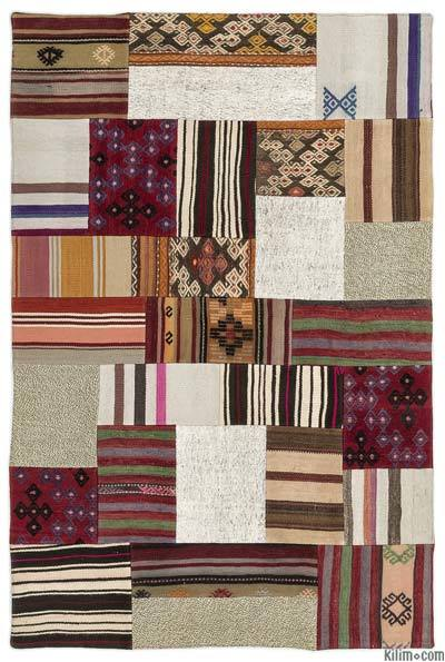 Multicolor, Beige Turkish Kilim Patchwork Rug - 4' x 6' (48 in. x 72 in.)