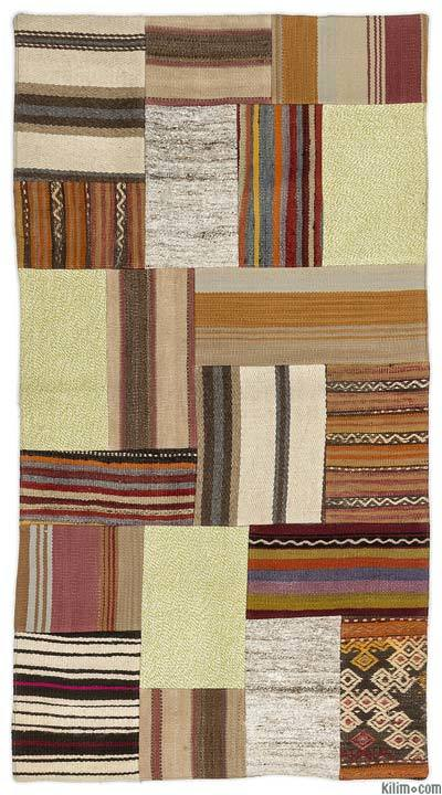 "Turkish Kilim Patchwork Rug - 2'8"" x 5' (32 in. x 60 in.)"