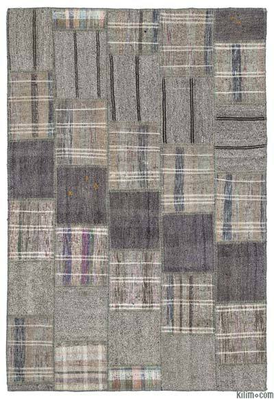 Grey Turkish Kilim Patchwork Rug - 6'4'' x 9'3'' (76 in. x 111 in.)