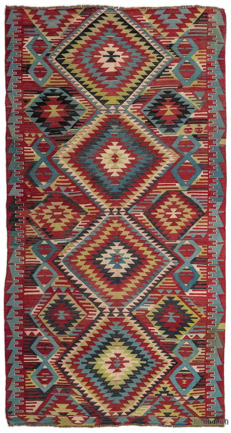 K0015607 Red Turkish Vintage Kilim Rug 5 2 X 9 10