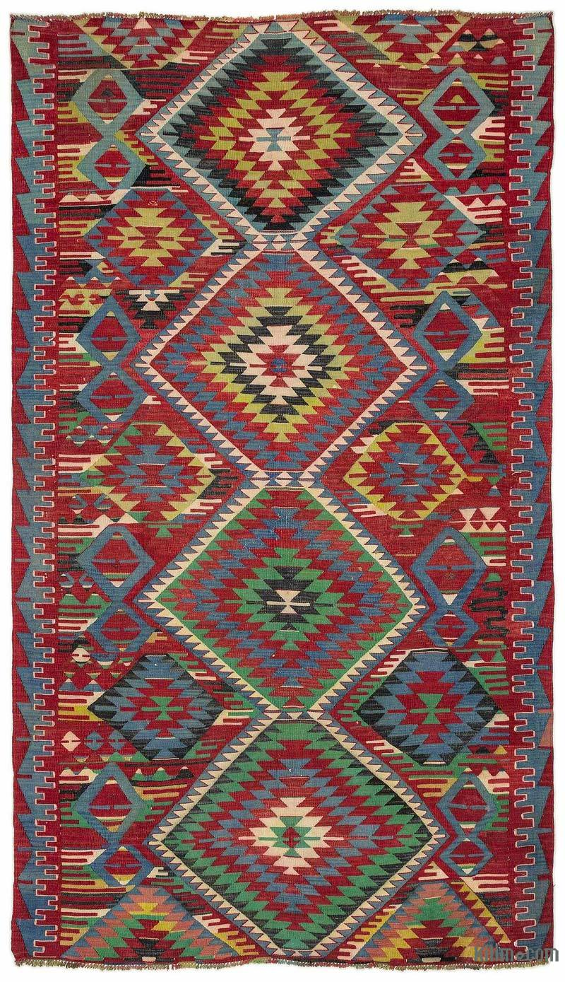K0015615 Multicolor Turkish Vintage Kilim Rug 5 3 Quot X 9 4